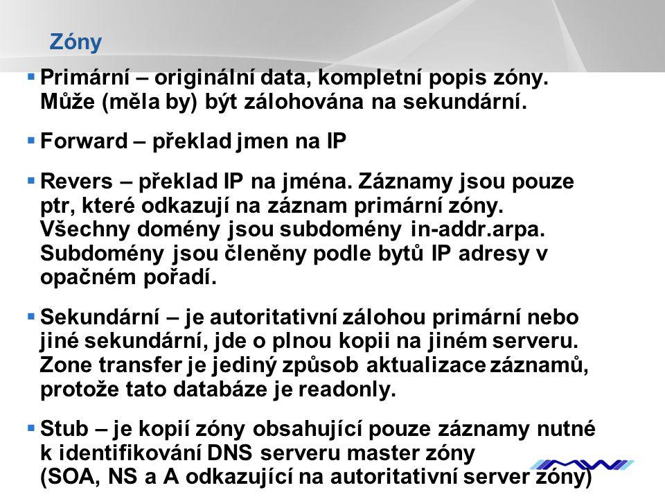 Zóny Primární – originální data, kompletní popis zóny. Může (měla by) být zálohována na sekundární.
