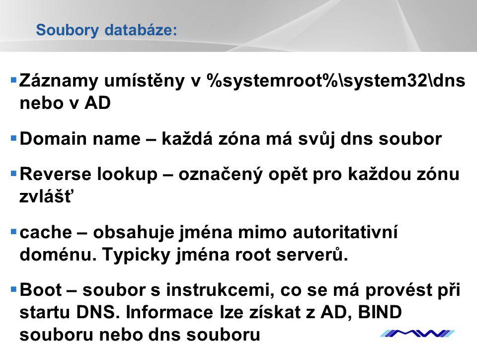 Záznamy umístěny v %systemroot%\system32\dns nebo v AD
