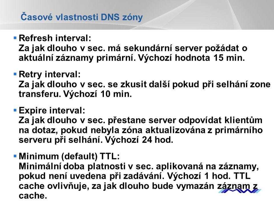 Časové vlastnosti DNS zóny