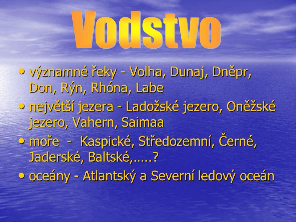Vodstvo významné řeky - Volha, Dunaj, Dněpr, Don, Rýn, Rhóna, Labe