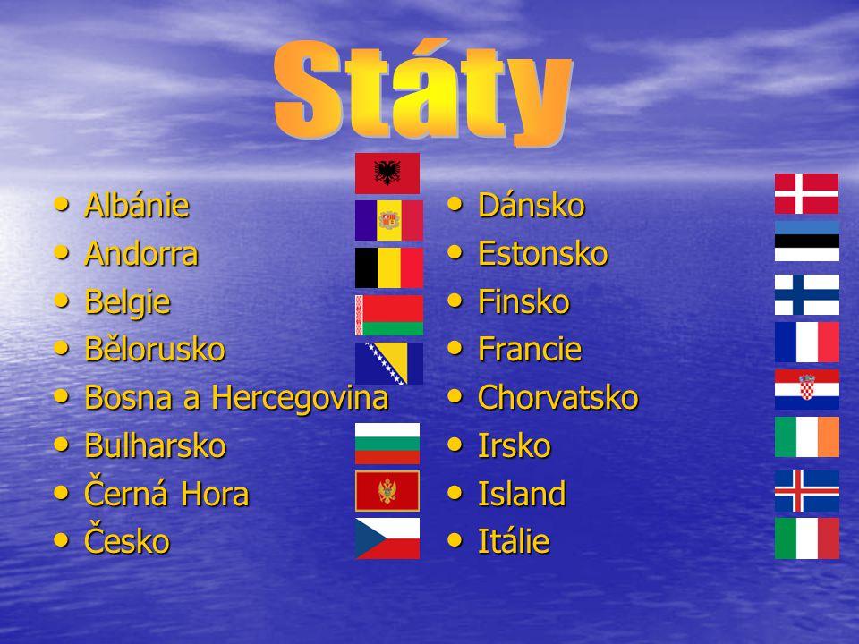 Státy Albánie Andorra Belgie Bělorusko Bosna a Hercegovina Bulharsko