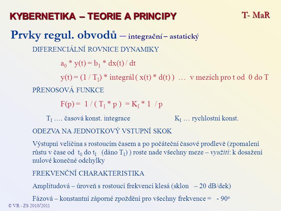 Prvky regul. obvodů – integrační – astatický