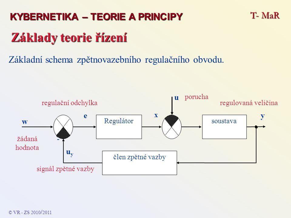 Základy teorie řízení T- MaR KYBERNETIKA – TEORIE A PRINCIPY