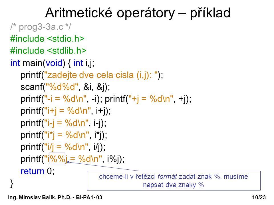 Aritmetické operátory – příklad