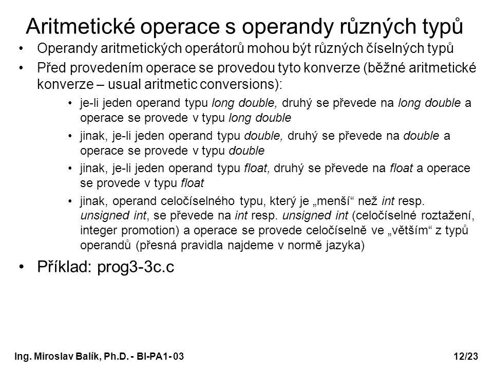 Aritmetické operace s operandy různých typů