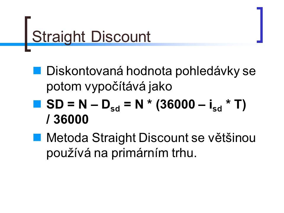 Straight Discount Diskontovaná hodnota pohledávky se potom vypočítává jako. SD = N – Dsd = N * (36000 – isd * T) / 36000.