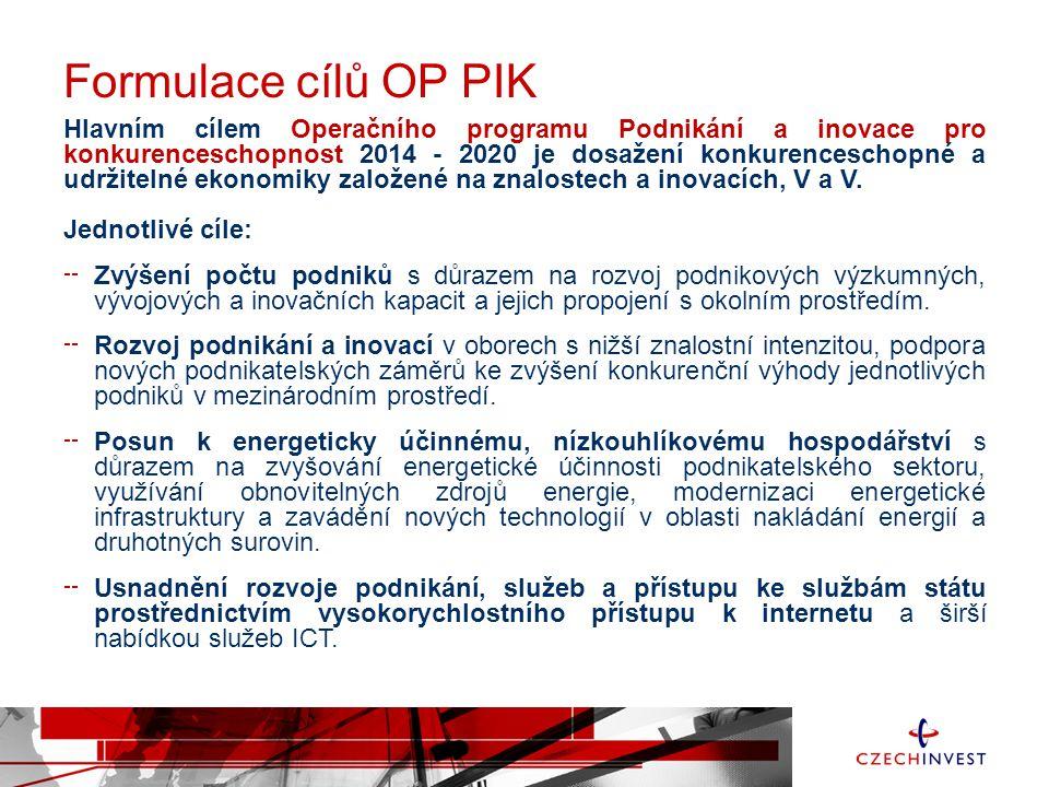 Formulace cílů OP PIK