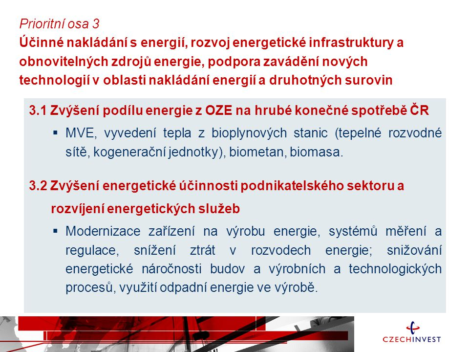 Prioritní osa 3 Účinné nakládání s energií, rozvoj energetické infrastruktury a obnovitelných zdrojů energie, podpora zavádění nových technologií v oblasti nakládání energií a druhotných surovin