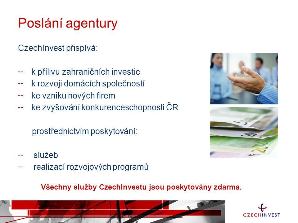 Poslání agentury CzechInvest přispívá: k přílivu zahraničních investic