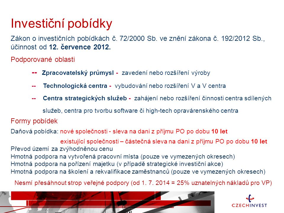 Investiční pobídky Zákon o investičních pobídkách č. 72/2000 Sb. ve znění zákona č. 192/2012 Sb., účinnost od 12. července 2012.