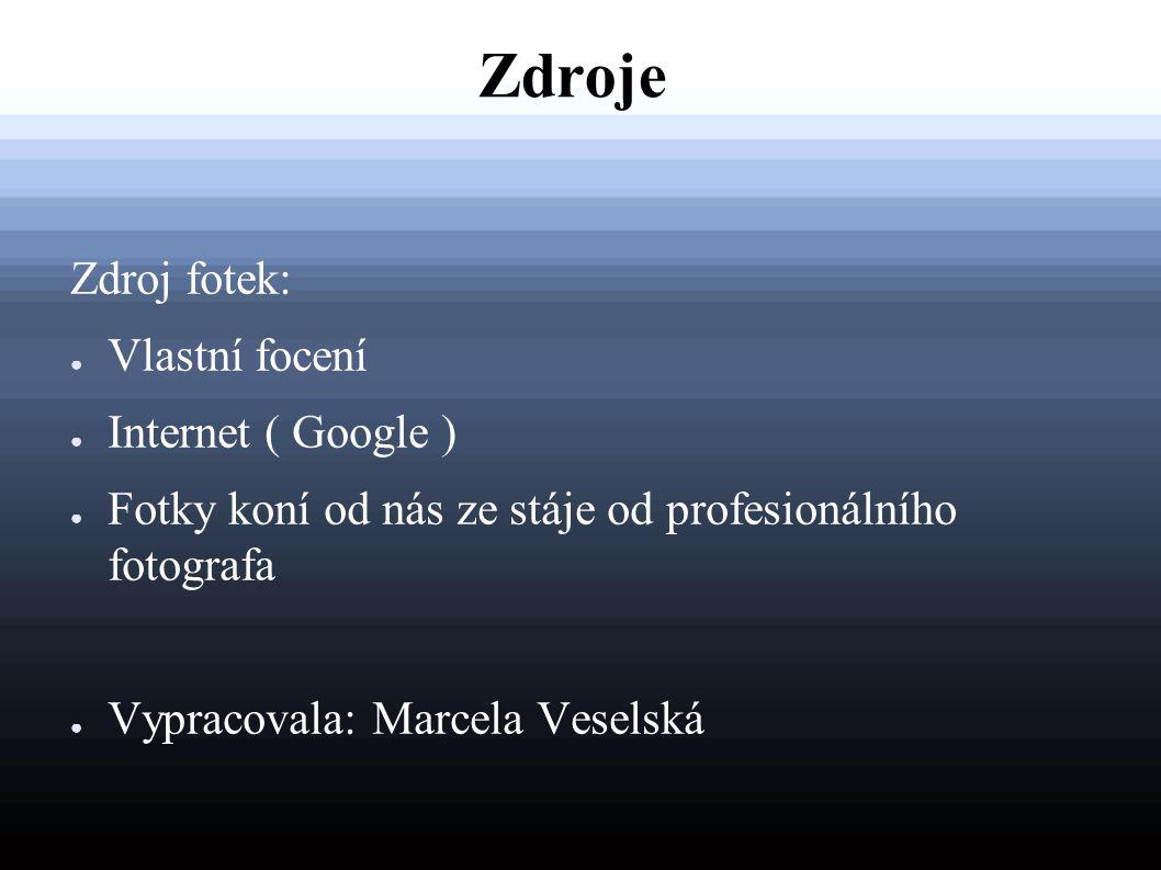 Zdroje Zdroj fotek: Vlastní focení Internet ( Google )