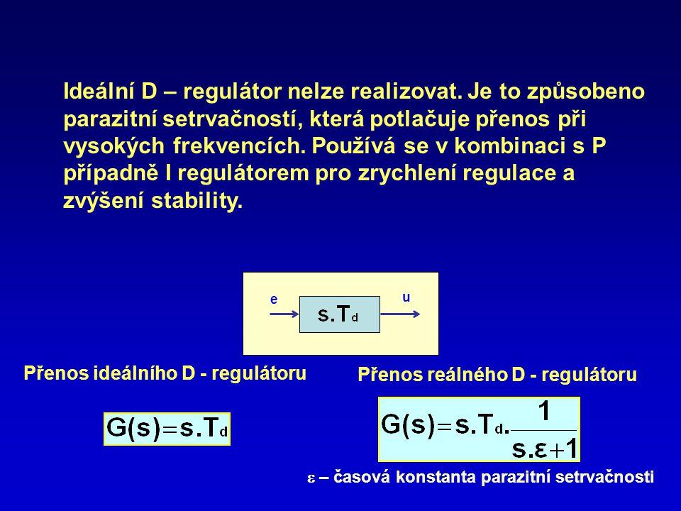Ideální D – regulátor nelze realizovat
