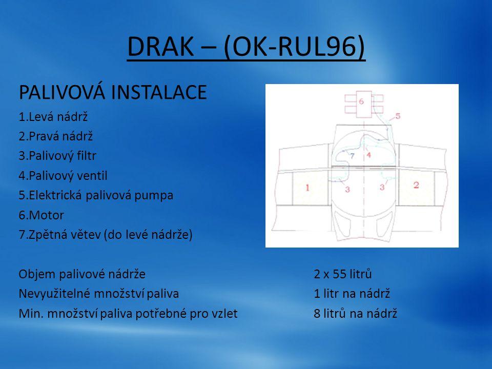 DRAK – (OK-RUL96) PALIVOVÁ INSTALACE Levá nádrž Pravá nádrž
