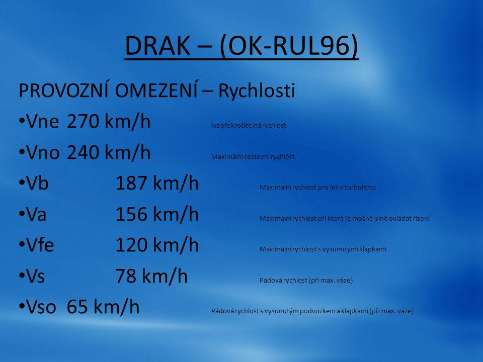 DRAK – (OK-RUL96) PROVOZNÍ OMEZENÍ – Rychlosti