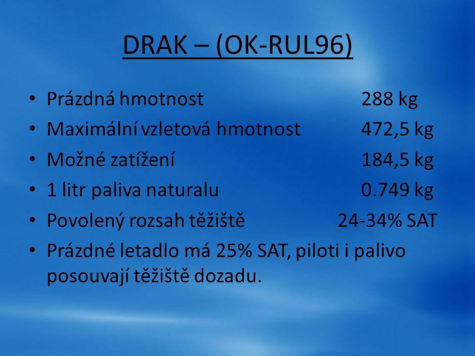 DRAK – (OK-RUL96) Prázdná hmotnost 288 kg