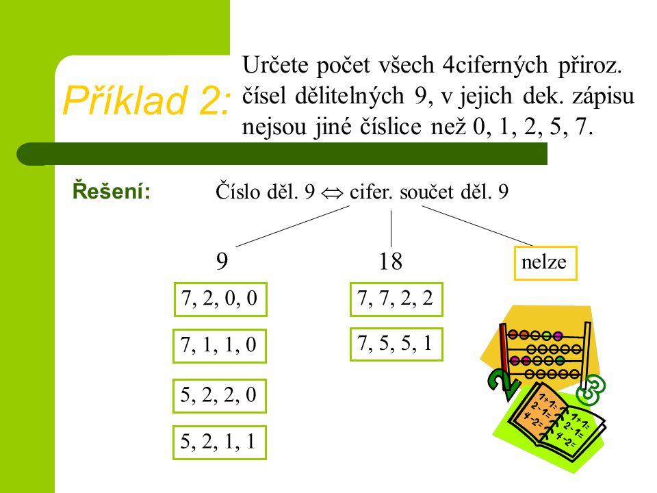 Určete počet všech 4ciferných přiroz. čísel dělitelných 9, v jejich dek. zápisu nejsou jiné číslice než 0, 1, 2, 5, 7.