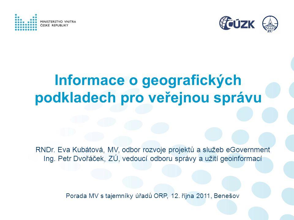 Informace o geografických podkladech pro veřejnou správu
