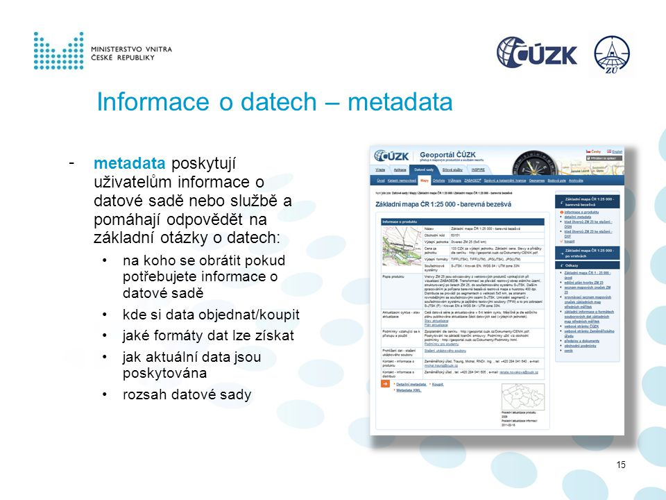 Informace o datech – metadata