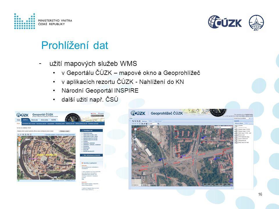 Prohlížení dat užití mapových služeb WMS