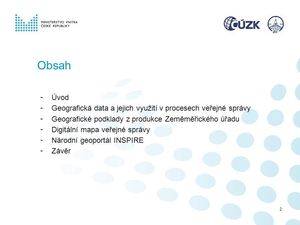 Obsah Úvod. Geografická data a jejich využití v procesech veřejné správy. Geografické podklady z produkce Zeměměřického úřadu.