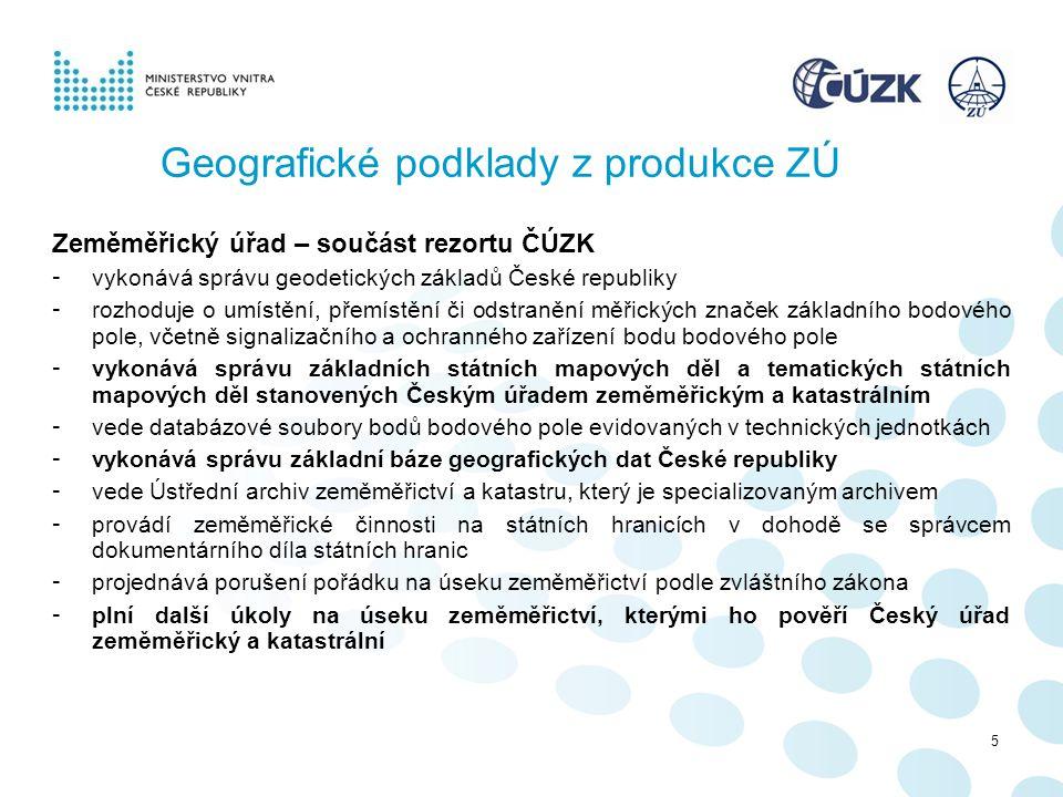 Geografické podklady z produkce ZÚ