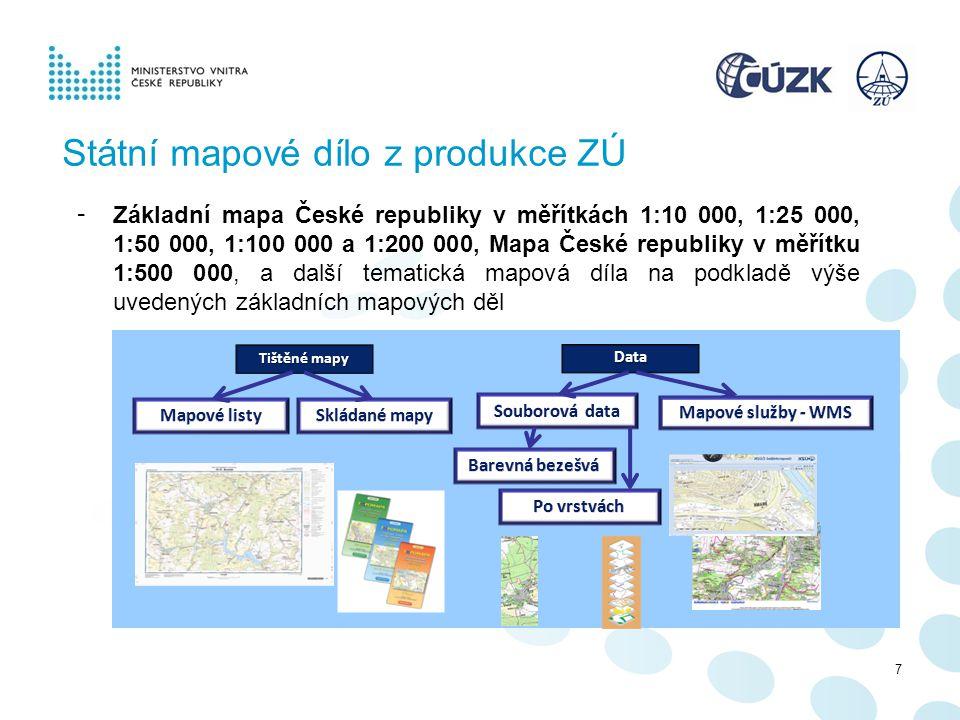 Státní mapové dílo z produkce ZÚ
