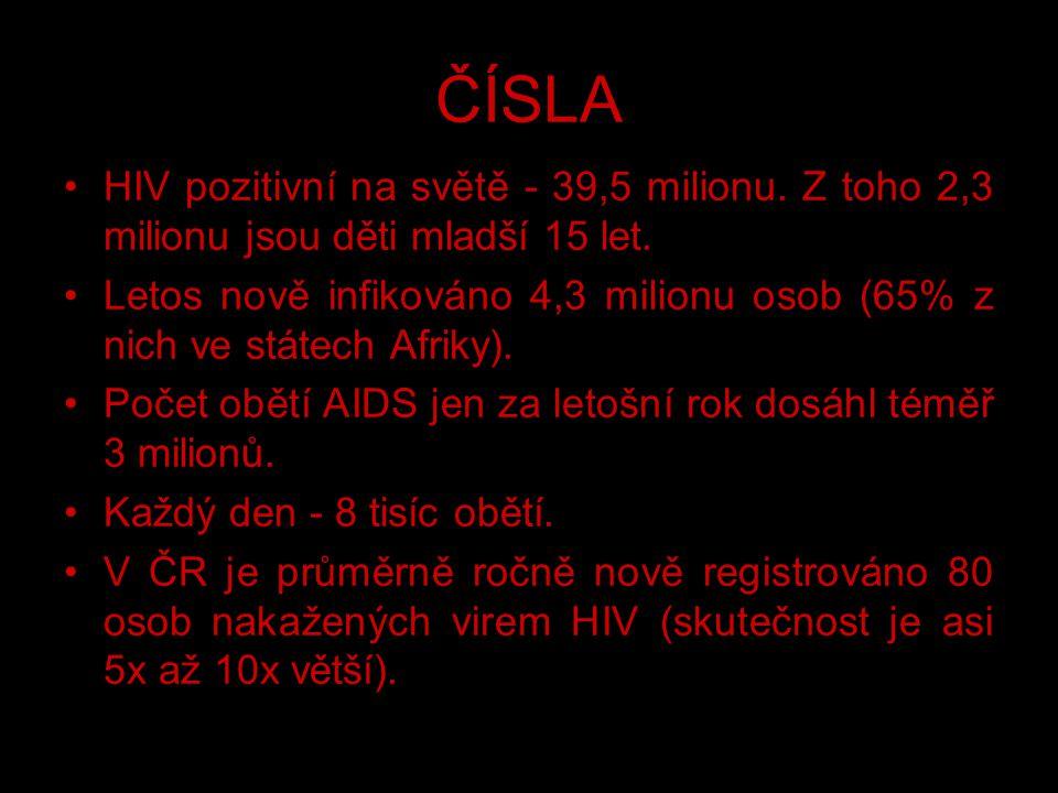 ČÍSLA HIV pozitivní na světě - 39,5 milionu. Z toho 2,3 milionu jsou děti mladší 15 let.