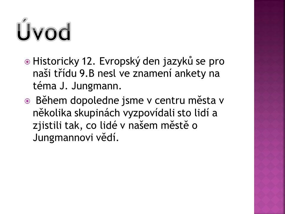 Úvod Historicky 12. Evropský den jazyků se pro naši třídu 9.B nesl ve znamení ankety na téma J. Jungmann.