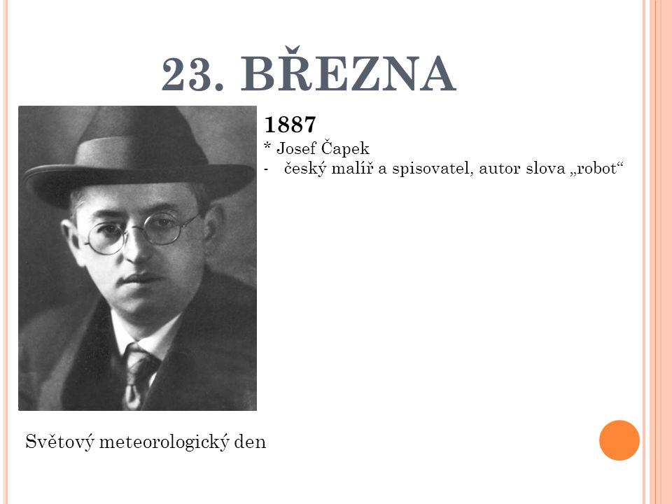 23. BŘEZNA 1887 Světový meteorologický den * Josef Čapek