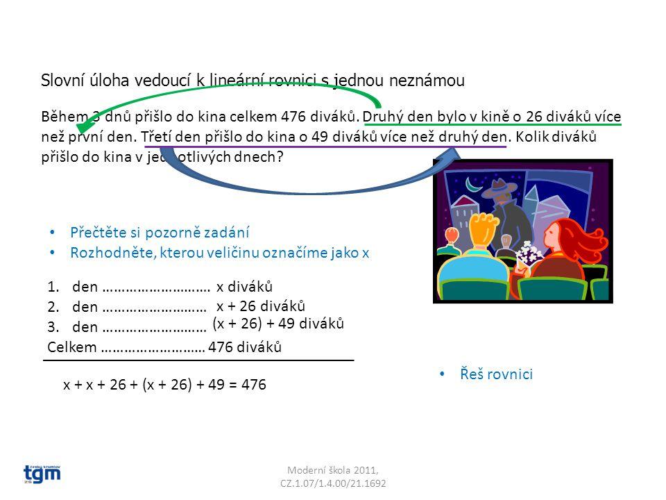 Slovní úloha vedoucí k lineární rovnici s jednou neznámou