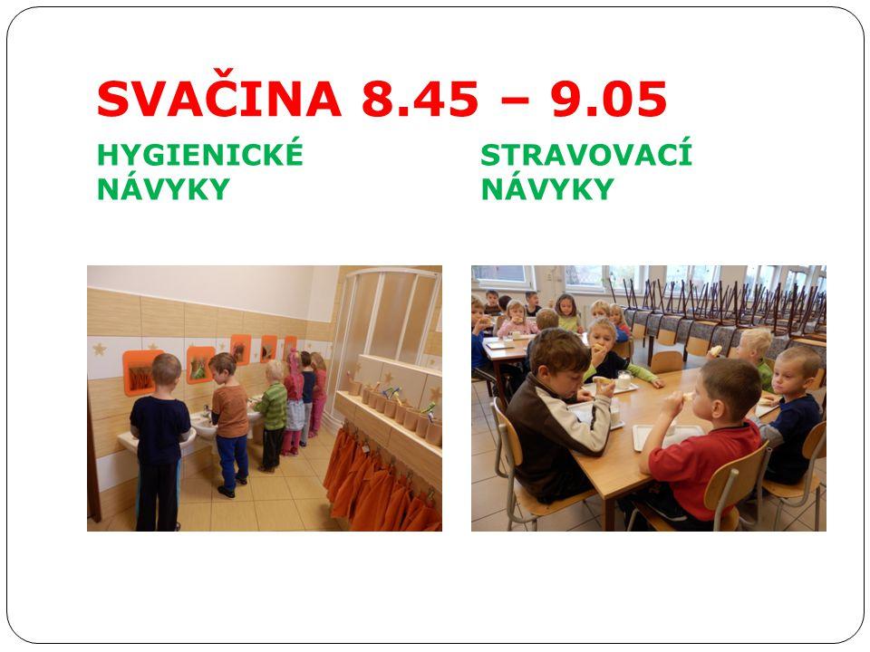 SVAČINA 8.45 – 9.05 HYGIENICKÉ NÁVYKY STRAVOVACÍ NÁVYKY