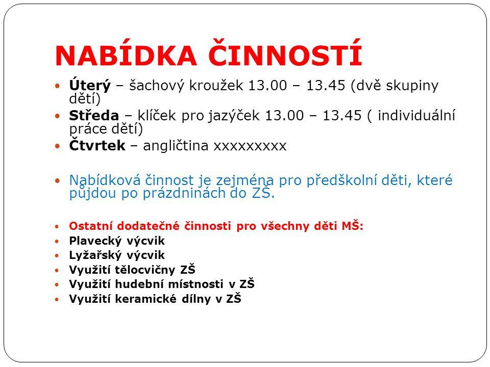 NABÍDKA ČINNOSTÍ Úterý – šachový kroužek 13.00 – 13.45 (dvě skupiny dětí) Středa – klíček pro jazýček 13.00 – 13.45 ( individuální práce dětí)