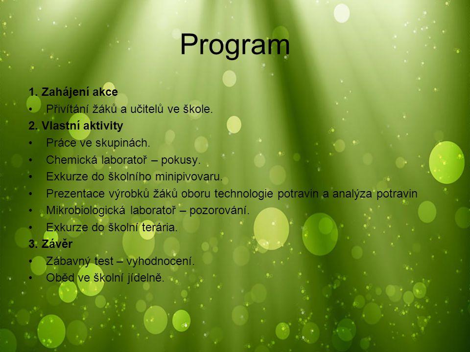 Program 1. Zahájení akce Přivítání žáků a učitelů ve škole.