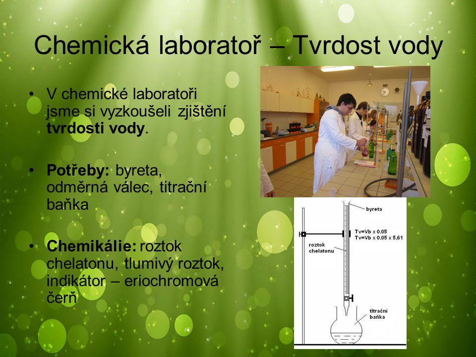 Chemická laboratoř – Tvrdost vody