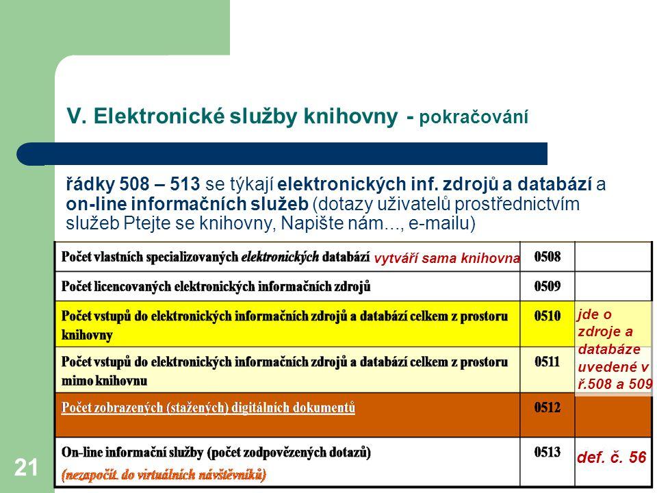 V. Elektronické služby knihovny - pokračování