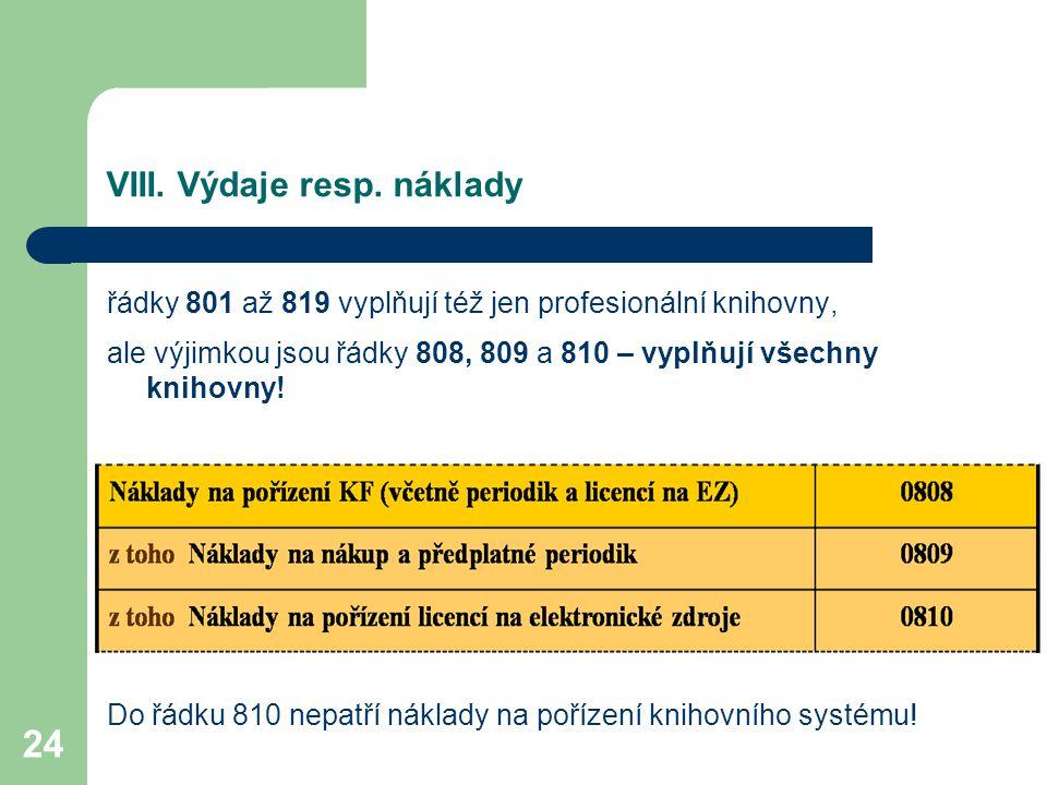 VIII. Výdaje resp. náklady