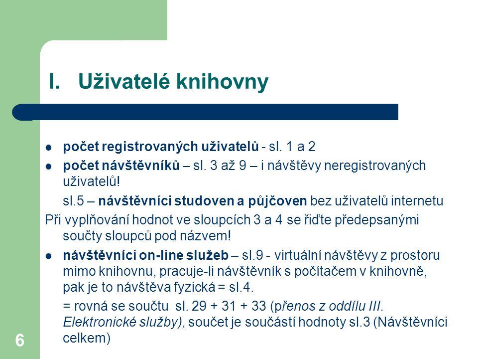 I. Uživatelé knihovny počet registrovaných uživatelů - sl. 1 a 2