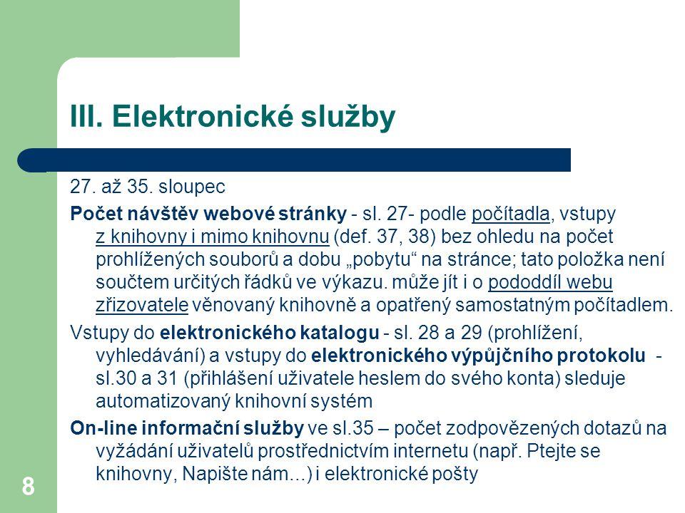 III. Elektronické služby