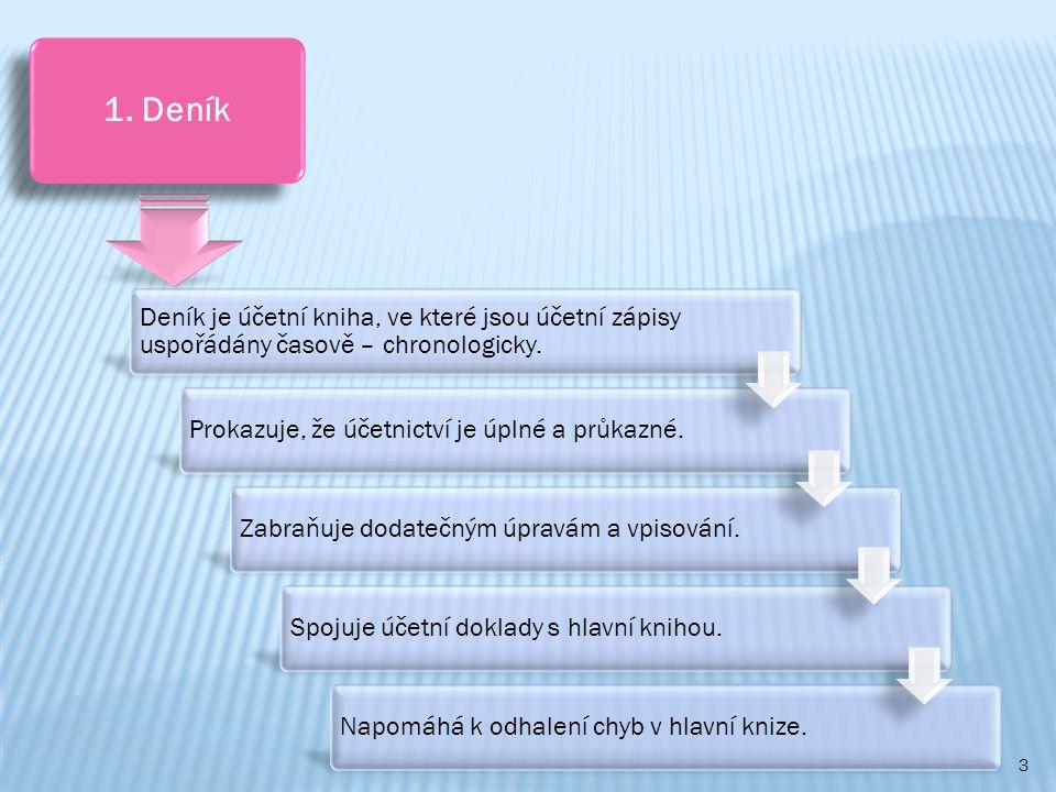 1. Deník Deník je účetní kniha, ve které jsou účetní zápisy uspořádány časově – chronologicky. Prokazuje, že účetnictví je úplné a průkazné.