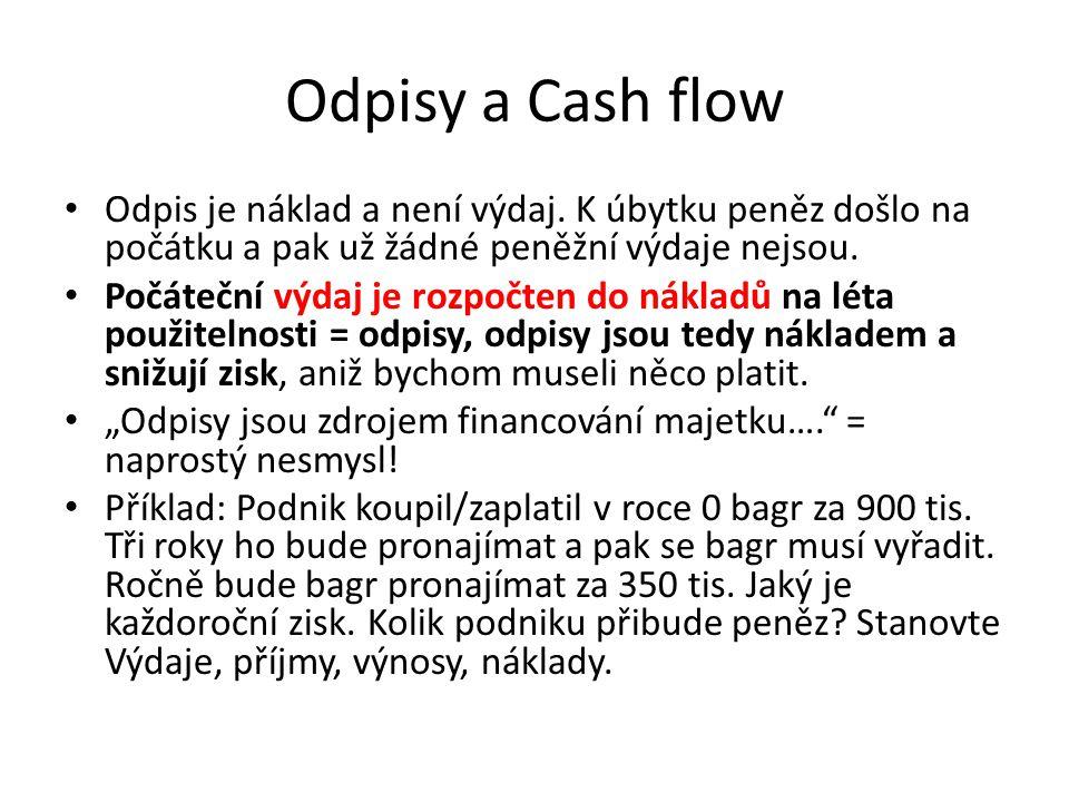 Odpisy a Cash flow Odpis je náklad a není výdaj. K úbytku peněz došlo na počátku a pak už žádné peněžní výdaje nejsou.