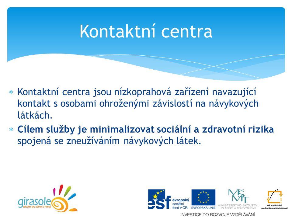 Kontaktní centra Kontaktní centra jsou nízkoprahová zařízení navazující kontakt s osobami ohroženými závislostí na návykových látkách.