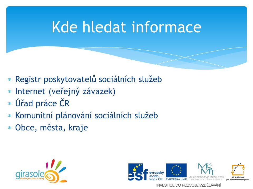 Kde hledat informace Registr poskytovatelů sociálních služeb
