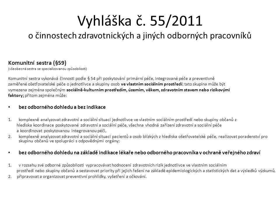 Vyhláška č. 55/2011 o činnostech zdravotnických a jiných odborných pracovníků