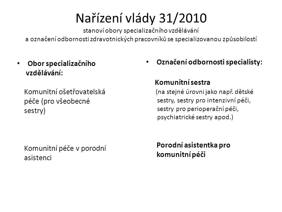 Nařízení vlády 31/2010 stanoví obory specializačního vzdělávání a označení odbornosti zdravotnických pracovníků se specializovanou způsobilostí
