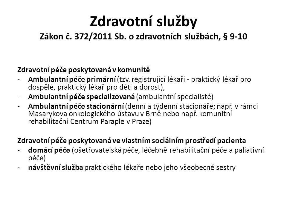 Zdravotní služby Zákon č. 372/2011 Sb. o zdravotních službách, § 9-10