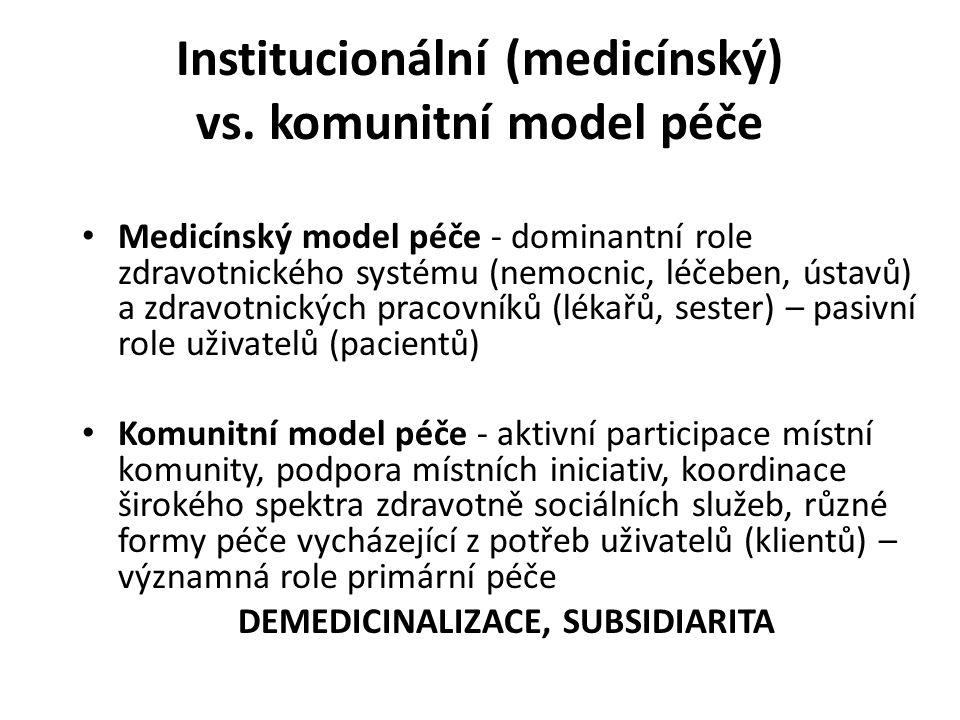 Institucionální (medicínský) vs. komunitní model péče