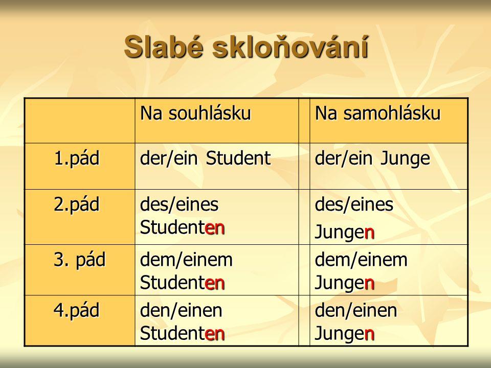 Slabé skloňování Na souhlásku Na samohlásku 1.pád der/ein Student