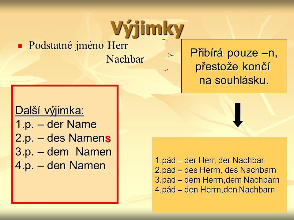 Výjimky Podstatné jméno Herr Přibírá pouze –n, Nachbar přestože končí
