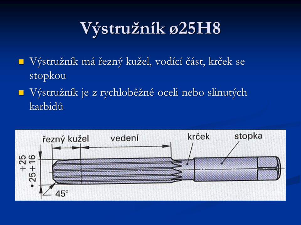 Výstružník ø25H8 Výstružník má řezný kužel, vodící část, krček se stopkou.