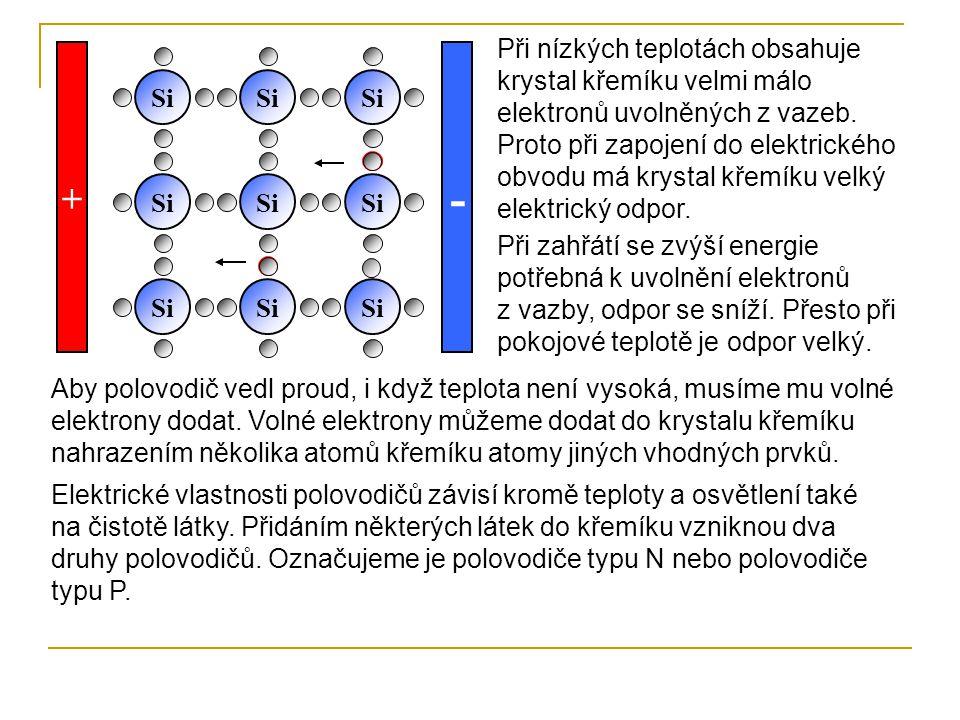 Při nízkých teplotách obsahuje krystal křemíku velmi málo elektronů uvolněných z vazeb. Proto při zapojení do elektrického obvodu má krystal křemíku velký elektrický odpor.